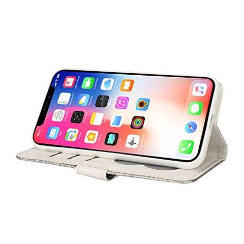 elecfan iPhone 11 Case, Smart Stand Cover Magnetic Wallet Case Folio Flip Protector Case Zipper Cover Card Slots Holder Cover for 2019 iPhone 11/11R/XIR 6.1 inch - Silver