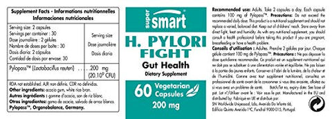 Supersmart   H. Pylori Fight 200 Mg Per Serving   Relieves Acid Lifts And Stomach Aches | Non Gmo