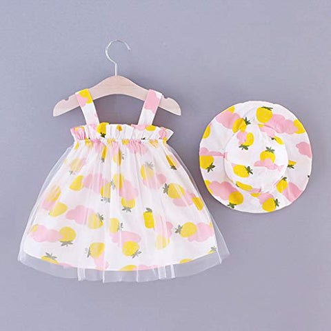 heavKin-Clothes 6M-3T Toddler Baby Girl Suspender Dress Fruit Strawberry Print Tulle Yarn Princess Skirt + Hat 2-Peice Suit