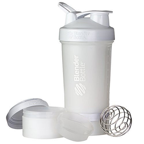 BlenderBottle C01711 ProStak System with 22-Ounce Bottle and Twist n' Lock Storage, 22 oz, White