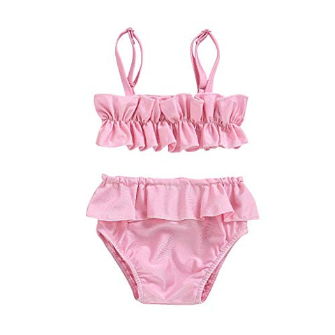 Baby/Toddler Girls' Sling Bikini Swimwear Solid Color Pleated Top and Briefs 2 Piece Swimsuit,for 6Months-5Years Kids (Pink, 3-4 Years)