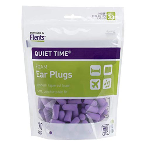 Flents Quiet Time Ear Plugs/Earplugs | 70 Pair Bonus Pack | Nrr 33 | Made In The Usa