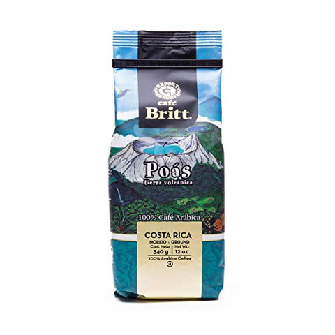 Cafãƒâ© Britt   Costa Rican Poas Tierra Volcanica Coffee (12 Oz.) (3 Pack)   Ground, Arabica Coffee,