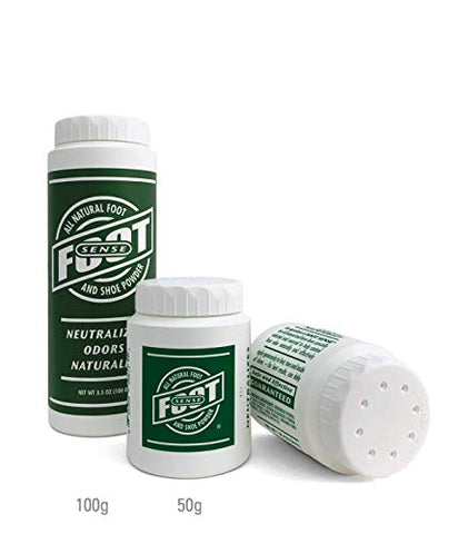 FOOT SENSE All Natural Smelly Foot & Shoe Powder - Foot Odor Eliminator lasts up to 6 months. Safely kills bacteria. Natural formula for smelly shoes and stinky feet. (4 Pack 50G)