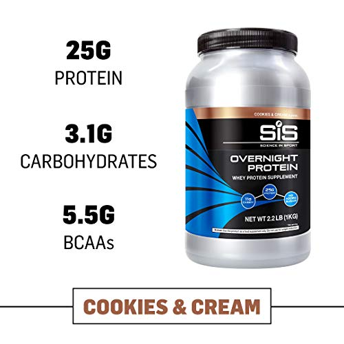 Science in Sport Overnight Protein, 25g Protein Blend, Whey Protein Isolate and Casein Protein, 2.2lb Cookies and Cream Protein - 28 Servings