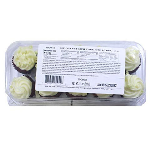 The Cheesecake Factory Red Velvet Mini Cupcakes 10 count (Pack of 6)