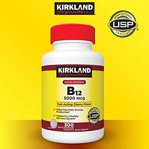 Kirkland Signature Expect More Quick Dissolve B-12 5000 mcg, 300 Tablets