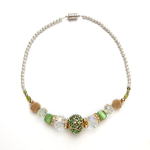 Peridot and Crystal Magnetic Therapy Necklace 18