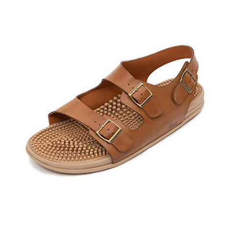 Revs Reflexology Massage & Acupressure Sandals for Men & Women. Shock Absorbing, Comfortable Cushion Footbed & Arch Support (24cm / Women US 6-6.5 Men US 5-5.5, Rustic Tan). Natural Health in a Shoe.