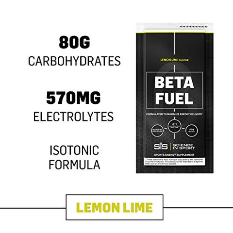 Science in Sport Beta Fuel, Endurance Energy Drink, Isotonic Sports Drink with 80g of Carbohydrates, Lemon & Lime - 12 Grab and Go Sachets