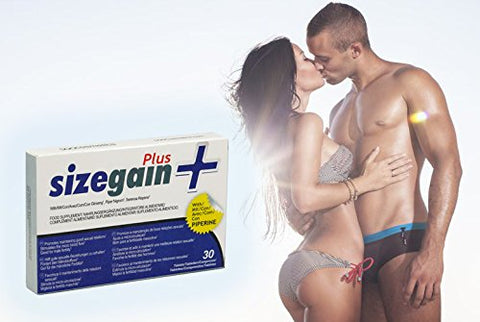 SizeGain Plus - 2 Penis Enlargement Pills, Natural and Nutritional Ingredients, 2 x 30 Capsules