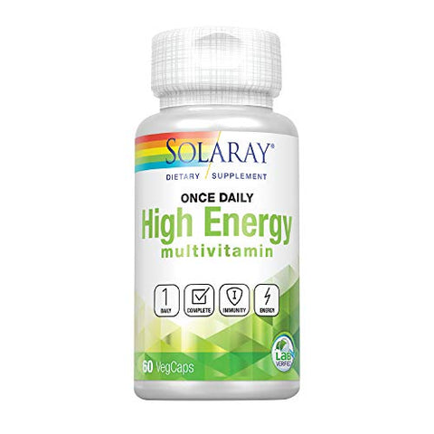 Solaray Once Daily High Energy Multivitamin | Supports Immunity & Energy | Whole Food Base Ingredients | Mens and Womens Multi Vitamin (60 CT)