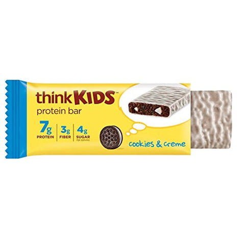 thinkKIDS Protein Bars - Cookies & Creme 7g Protein, 3g Fiber, 4g Sugar, No Artificial Flavors or Colors, Gluten Free, GMO Free*, 1 oz bar (5 Count)