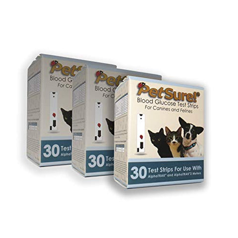 PetSure! Test Strips 30ct - Pack of 3 - Blood Glucose Testing for Cats and Dogs - Works with AlphaTrak and AlphaTrak2 Meters