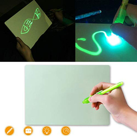 ?Luminous Drawing Board PVC A4 Draw with Light in Dark Magna Doodles Writing Tablet Children Kids Toy Sketching Pad with Stylus Pen Set Gift