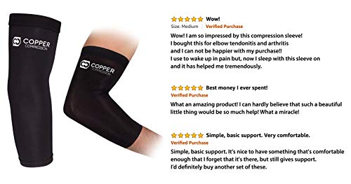 Copper Compression Recovery Elbow Sleeve   Guaranteed Highest Copper Content Elbow Brace For Tendoni