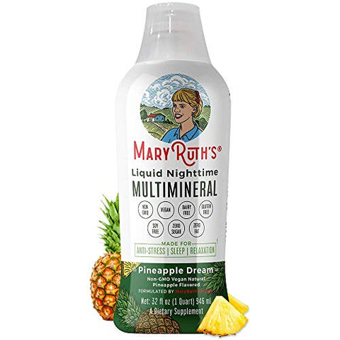 Liquid Sleep Multimineral w/Magnesium & Calcium Citrate by MaryRuth - Pineapple - Vegan Vitamins, Antioxidants, Minerals, MSM - Natural Calm & Stress Aid - No Melatonin - Non-GMO - Sugar Free 32oz