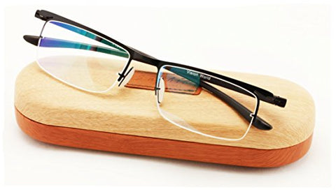 Featherweight Half Rim Reading Glasses With Anti-reflective AR Coating and Anti-Slip nose pad. (Black, 2.00)