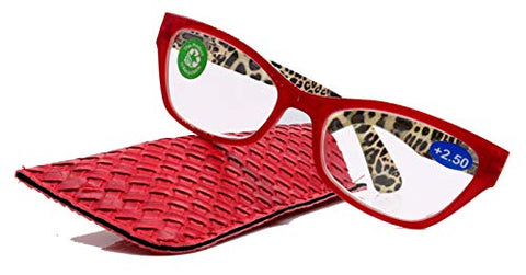 Panthera, Premium Reading Glasses, High End Readers +1.25 to +3 Magnifying, Cat Eye. Optical Frames. Leopard Red. NY Fifth Avenue.
