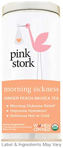 Pink Stork Morning Sickness Relief Tea: Ginger Peach + Usda Organic + Relieves Nausea + Supports Dig