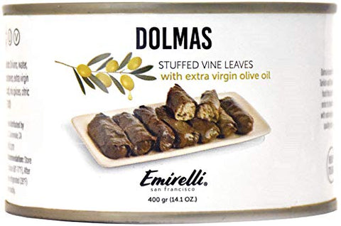 Emirelli Dolmas Stuffed Grape Leaves with Rice, Mediterranean Herbs in Extra Virgin Olive Oil  Super Tasty Ready to Eat VeganRolls - Traditional Turkish Recipe  Dolmades Can