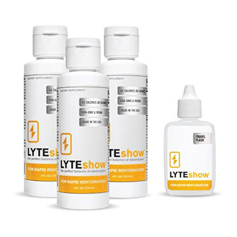 LyteShow Ionic Electrolyte Concentrate for Rapid Rehydration by LyteLine | 3 Bottles + Travel Flask