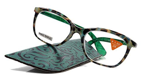 Venus, Premium Reading Glasses, High End Readers +1.25 to +4. Magnifying Glasses, Rectangular Optical Frame. Tortoise Green. NY Fifth Avenue