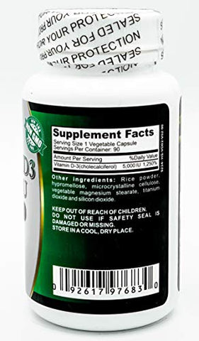 Vitamin D3 5000 IU 90 Capsules Supports Joints Bones and Help with Absorption of Calcium and Easy Movement Made in USA Manufactured FDA Registered Facility