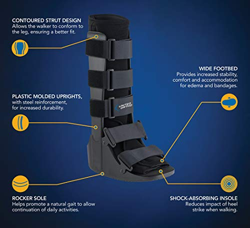 United Ortho Cam Walker Fracture Boot, Small, Black