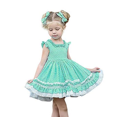 heavKin-Clothes Baby Girls Spring Summer Dress Flying Sleeve Frill Ruffle Lace Knee-Length Skirt,for 6M-4Y Toddler Kids (Mint Green, 6-12 Months)