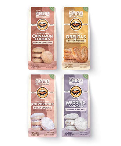 Mexican Cookie Assortment (Pack of 4) Wedding Cookies, Orejitas, Cinnamon Cookies and Polvorones Sugar Cookies