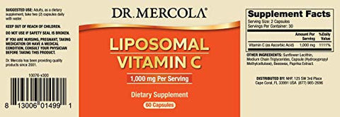 Dr. Mercola, Liposomal Vitamin C Dietary Supplement, 30 Servings (60 Capsules), Non GMO, Soy Free, Gluten Free
