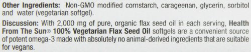 Health From The Sun 100% Vegetarian Flax Seed Oil Softgels, 90-Count