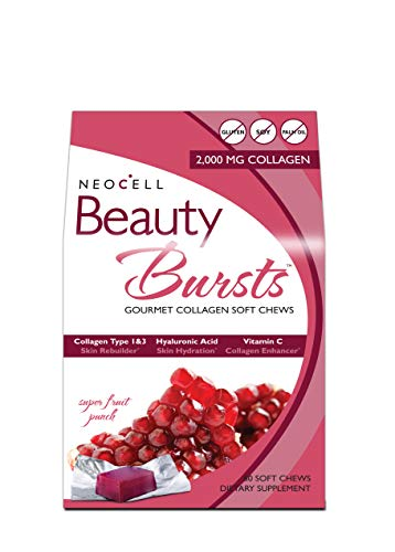 NeoCell Beauty Bursts Collagen Soft Chews - 2,000mg Collagen Types 1 & 3 - Super Fruit Punch Flavor - 60 Count
