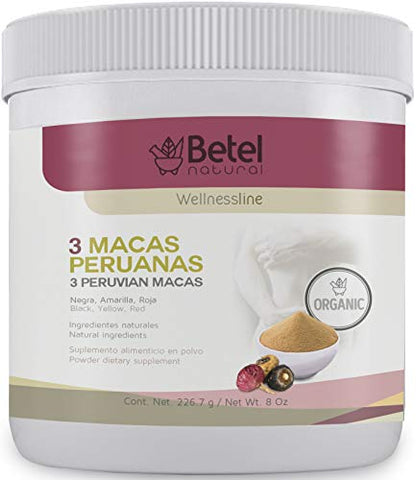 Organic 3 Peruvian Macas Powder by Betel Natural - Black, Yellow, and Red Maca from Peru - 8 Oz