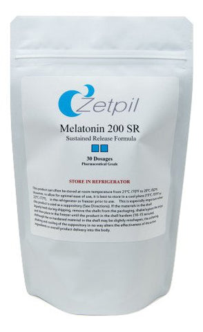 Zetpil Melatonin, 200 mg, 12 Hour Sustained Release Antioxidant Suppositories, 30 Count