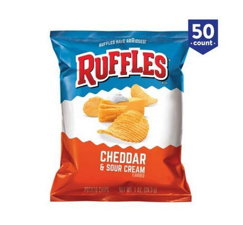 Ruffles Potato Chips, Cheddar & Sour Cream, 1 oz, 50-Count (Pack of 2)