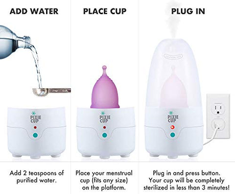 Pixie Menstrual Cup Steamer Sterilizer   Kills 99.9% Of Germs With Steam   3 Minutes And Your Period