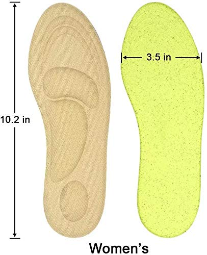 Dr. Foot's Arch Support Insoles, Help Against Plantar Fasciitis, Metatarsal and Heel Pain, Diabetic Anti-Sweat Foam Comfortable Insoles for Shock Absorption (M | 5~9 US Women's, Beige)