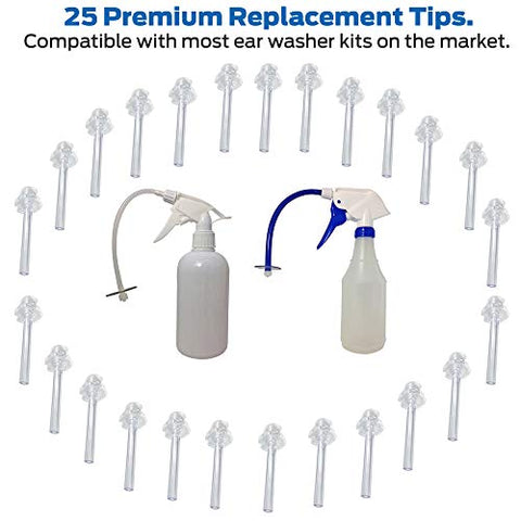 Ear Washer Replacement Tips 25 Count Value-Pack Disposable Fully Compatible with Doctor EasyTM Elephant, Rhino Ear Washer and Other Popular Kits with Luer Lock Cerumen Impaction Safe Treatment