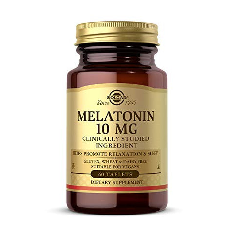 Solgar Melatonin 10mg, 60 Tablets - High-Dosage - Helps Promote Relaxation & Sleep - Clinically-Studied Melatonin - Supports Natural Sleep Cycle - Vegan, Gluten Free, Dairy Free, Kosher - 60 Servings