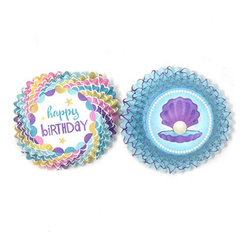 Homeford Clamshell with Pearl and Happy Birthday Cupcake Liners, 3-Inch, 48-Piece