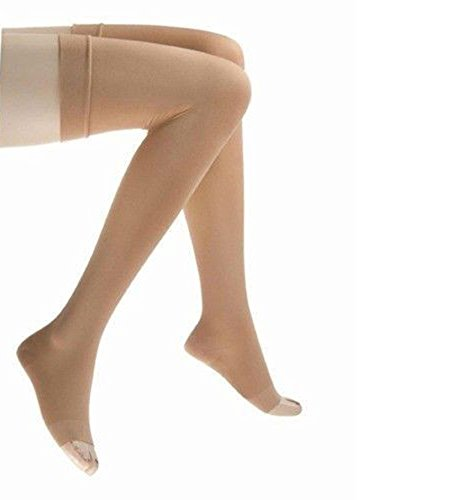 JOBST Relief Thigh High 20-30 mmHg Compression Socks, Open Toe, Beige, X-Large