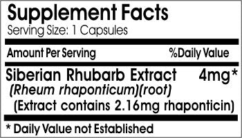Siberian Rhubarb Extract 4mg * 100 Caps 100% Natural   By Earh Natural Supplements