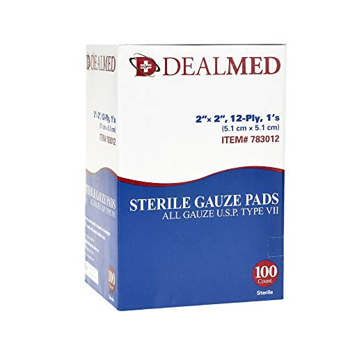 Dealmed Brand Sterile Gauze Pads, Individually Wrapped For Wound Dressing, Highly Absorbent Gauze Sp