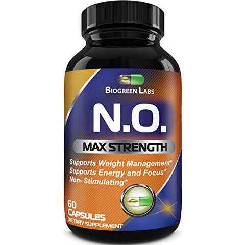 Nitric Oxide Support Pills - Natural Workout Supplement & Exercise Enhancer - Boost Energy + Strength + Recovery Muscle Builder - Pure L-Arginine & L-Citrulline Amino Acid Capsules - By Biogreen Labs