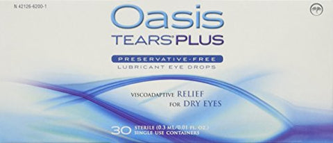 Oasis TEARS PLUS Preservative-Free Lubricant Eye Drops, 30 containers, 0.3 ML/0.01 FL OZ