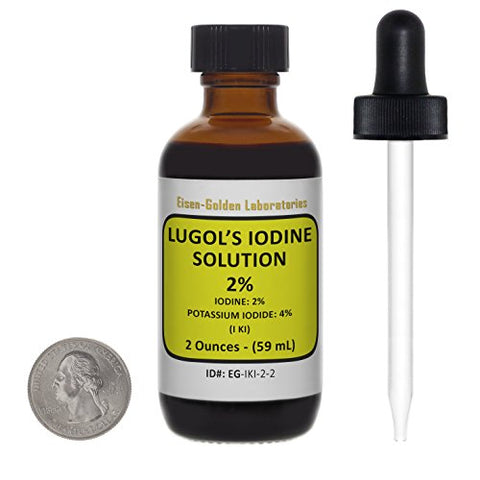 Lugol's Iodine / 2% Solution / 2 Oz in an Amber Glass Bottle/Free Dropper/USA