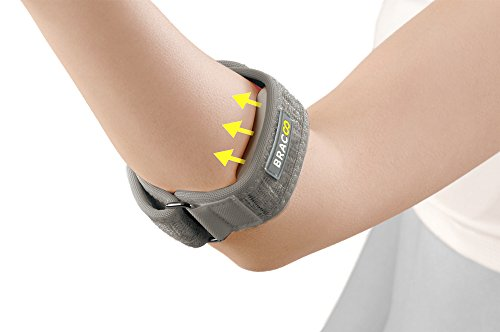 Bracoo Tennis-Golfer Elbow Strap, Quality Compression EVA Pad for Tendonitis, Muscle Strain Relief, EP40, One Size, Gray
