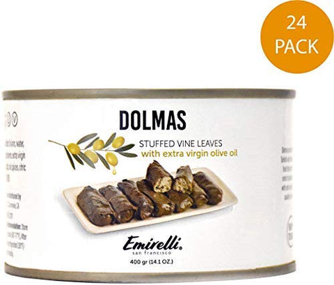 Emirelli Dolmas Stuffed Grape Leaves with Rice, Mediterranean Herbs in Extra Virgin Olive Oil  Super Tasty Ready to Eat VeganRolls - Traditional Turkish Recipe  Dolmades Can (14 oz - Pack of 24)